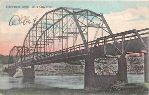 D57/ Miles City Montana Mt Postcard 1909 Yellowstone Bridge River