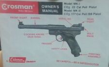 Crosman Model Mk-1 Co2 .22 Cal & Mk-2 Co2 .177 Cal Owners Manual Complete