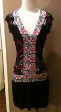 CUSTO BARCELONA DRESS 1 XS BLACK FLORAL V NECK FLUTTER SLEEVE RUCHING GORGEOUS!
