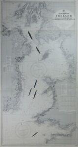 Vintage Admiralty Chart ~ East Coast Of Ireland With Irish Sea ~   No.1824a