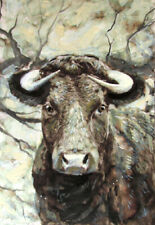 Original Black Angus Bull Painting - Realistic Rural Farm Cow Ink Acrylic Art