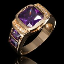 Gold Filled Amethyst Engagement Mens Rings SuoHuan Size 10 Jewelry Fashion 18K