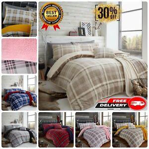 Teddy Bear Fleece Duvet Cover Set Lincoln Check Sherpa Thermal Warm Bedding