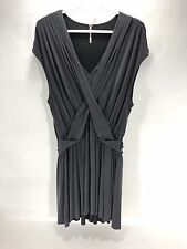 Free People Dress - Gray Crisscross Front Mini  Cap sleeve - Medium