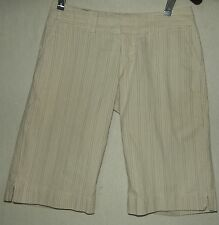 BANANA REPUBLIC 0P BERMUDA SHORTS Tan Beige Striped XS Pinstripe 0S long Low
