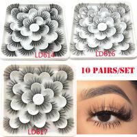 SKONHED 10 Pairs 100% 3D Mink Hair False Eyelashes Thick Long Lashes Extension