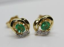 18ct Yellow Gold Emerald and Diamond Earrings
