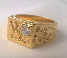 G-Filled Mens 18ct yellow gold simulated diamond solitaire nugget ring Gents new