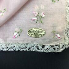 Vintage Embroidered Pink Switzerland Lace Handkerchief Hanky Hankie Flower