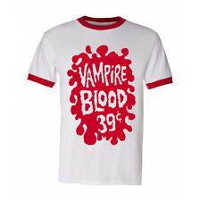 Vampire Blood Shirt vintage style ringer  halloween plastic fangs imagineering