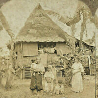 Filipino Home Life Vtg Antique Stereoview 1902 C H Graves Philippines Island