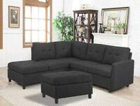 6PCS Contemporary Sectional Modern Sofa Set Microfiber Reversible Chaise Ottoman