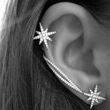 New Fashion Women Jewelry Asymmetric Crystal Snowflake Ear Clip Stud Earrings UK