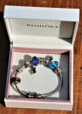 Authentic Sterling Pandora Charm Bracelet in Original Box, 10 Charms, 46 Grams!