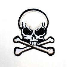 White Cross Bone Pirate Skull Death Danger Symbol Rock Punk biker Iron on Patch