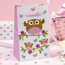 5 x Little Owls Paper Party Bags Girls Birthday Supplies Loot Gift Goodie