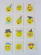 12 Childrens Smiley Temporary Tattoos Kids Party Bag Fillers Boys £1.99