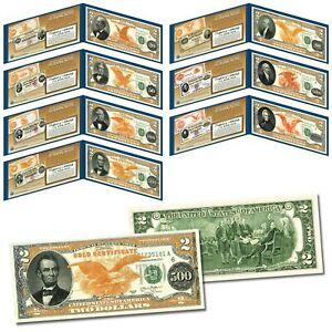 1882 Series Gold Certificates on Real U.S. Genuine $2 Bills - Complete Set of 7