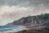 COASTLINE LYME REGIS DORSET Antique Watercolour Painting 1911