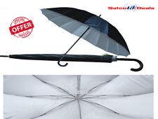"33"" Large Umbrella Auto Open Rain Wind Resistant Men Women Silver Funeral Studio"