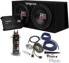 "MTX Terminator TNP212DV Dual 12"" Subwoofers+Enclosure+Amp Kit+2 Farad Capacitor"