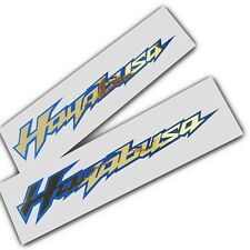 Hayabusa motorcycle decals custom graphics gold Chrome on blue x 2 pieces