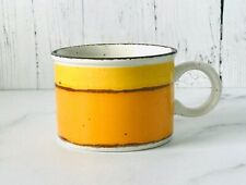 Vintage Midwinter Stonehenge Sun Stoneware Flat Coffee Cup Yellow Orange ~ EUC