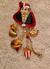"Lunch At The Ritz Vintage ""CAR HOP"" SUNDAE BURGER PIN BROOCH NECKLACE"