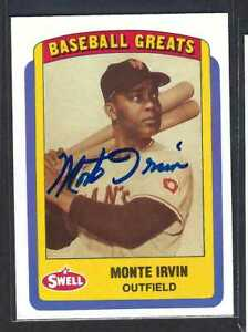 1995 Swell Baseball Greats Monte Irvin HOF #85 Auto Autographed Signed