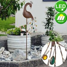 LED Solar Erdspieß Lampe Pfau Design Terrassen Außen Steck Leuchte bronze farben