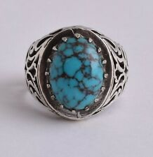 Egyptian Turquoise Sterling silver Men Ring-Middle Eastern-Spiderweb Turquoise