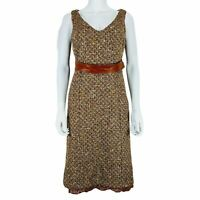 D&G Dolce & Gabbana Ittierre Dress Brown Boucle with Belt 28 / 42 UK 10 Wool mix