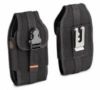 RUGGED Vertical Heavy Duty Canvas Cell Phone Holster Belt Clip Case Pouch Cover