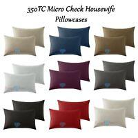 100% Egyptian Cotton Housewife Pillowcase Pair Luxury 350TC Micro Stripe Check