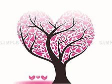 PAINTING ABSTRACT LOVE HEART TREE DESIGN LEAVES VECTOR ART POSTER PRINT LV6059