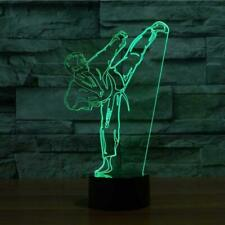 sport 3D Taekwondo karate lamp 7 color change led touch table night lights USB