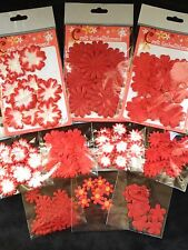 170 Flowers flower Lot assortment Red petals Handmade Mulberry Paper cards 17
