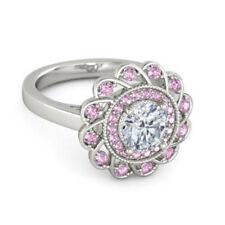 Fashion Silver Pink Diamond Engagement Wreath Ring Wedding Jewelry Size 8