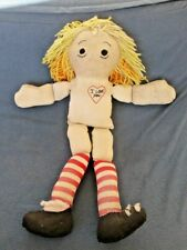 "Raggedy Ann Doll Handmade Volland Style Vintage 24"" w ""I Love You"" Heart"