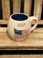 Rae Dunn FREEDOM with AMERICAN FLAG Coffee Tea Cocoa Mug Brand New 2020