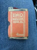 Original 1930s Linco Motor Oil Can Sewing Needle Gas Station Giveaway Lincoln IL