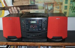 Vtg Red Speakers Sony CFD-Z501 Portable CD Cassette Radio Stereo BoomBox