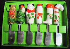 Set of 6 Ceramic Chrstmas Cheese Butter Spreader Knives made in Japan