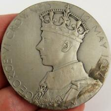 1937 GREAT BRITAIN KING GEORGE VI QUEEN ELIZABETH CORONATION 57MM SILVER MEDAL