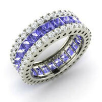 5.56Ct Princess Round Cut Natural Tanzanite Eternity Band 14K Solid White Gold