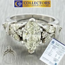 14k Solid White Gold Marquise Cut Natural 2.33ctw VS1 I Diamond Engagement Ring