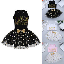 Toddler Kids Girls Dress Outfit Birthday Princess Party Polka Tutu Skirt Clothes