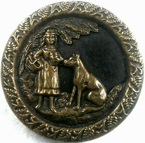 Vintage Red Riding Hood Button, Stamped Brass over tinted metal background 1 1/4