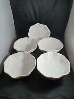 Vintage Pottery Cabbage Leaf White Bowls Majolica X 5 (1 x A/F)