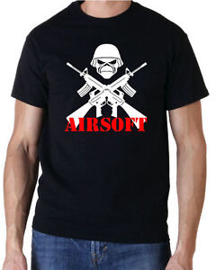 AIRSOFT SKULL PAINTBALL SHOOTING T SHIRT FREE UK POSTAGE